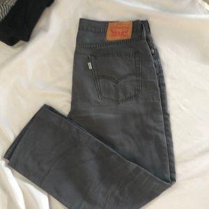 Dark grey 514 Levi's, bootcut fit, hemmed for 6'1